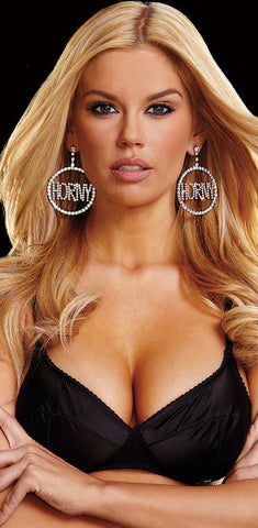 "Ann Devine ""Horny"" Rhinestone Doorknocker Earrings 2"""