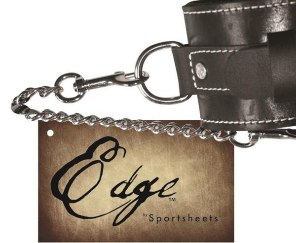 Sportsheets Edge Cowhide Leather Ankle Restraints With Buckle Black