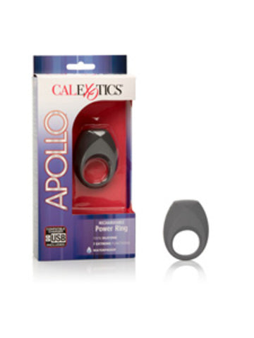 Apollo Rechargeable Power Ring - Silicone Vibrating Rechargeable Cock Ring - Grey