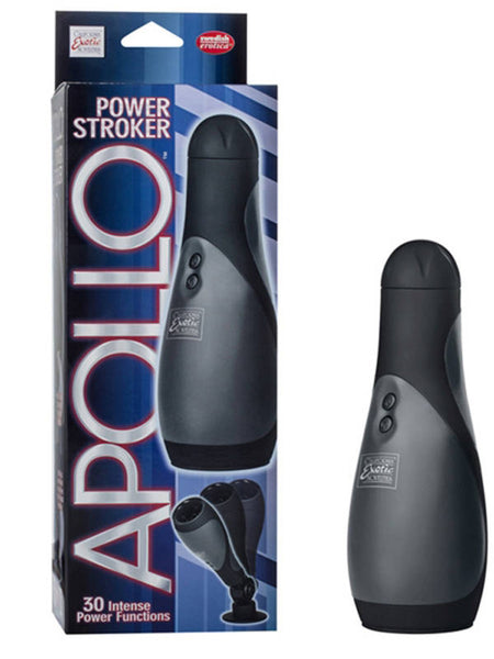 Apollo Power Stroker Vibrating Mastubator With Suction Cup Swivel Mount Black