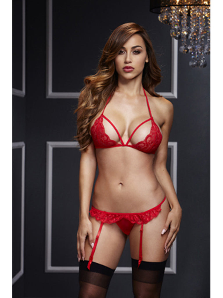 Baci 3101 Sexy Red 2 Piece Lace Bra & Crotchless G String with Suspenders Set One Size Fits Most