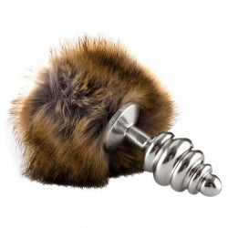 Ouch! Extra Feel Bunny Tail Buttplug - Silver Butt Plug with Fluffy Tail