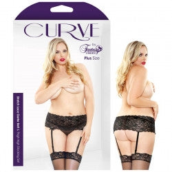 Curve Stretch Lace Garter Belt & Thigh High Stocking Set 1X/2X - Black