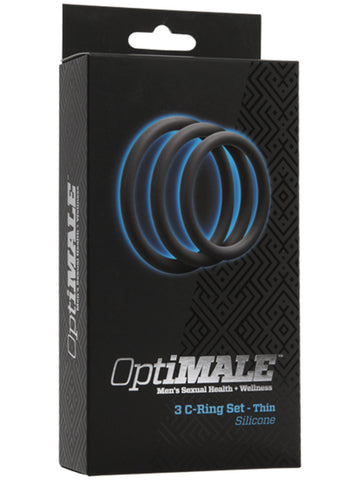 OptiMALE 3 C Ring Set Thin Slate - Silicone Penis Rings