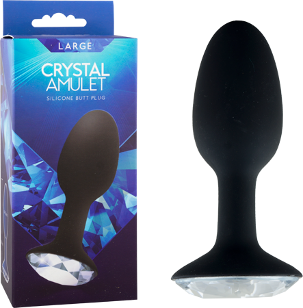Crystal Amulet - Large Silicone Buttplug - Black with Crystal Base