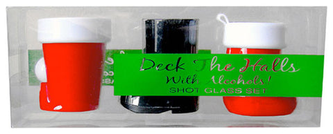 Deck the Halls Christmas Shot Glasses Set of 3 Plastic