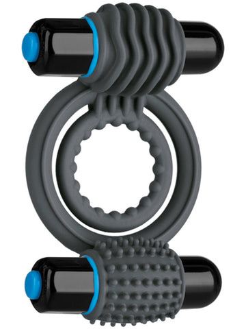 OptiMALE Vibrating Silicone Double Cock Ring with Dual Bullets - Slate