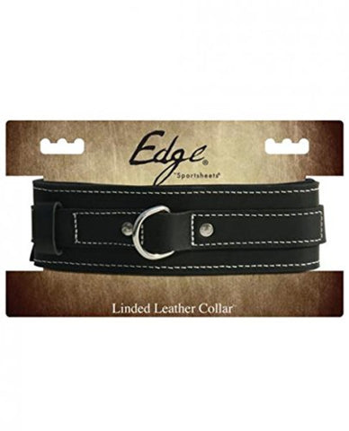 Sportsheets Edge Lined Cowhide Leather Collar With Buckle Black