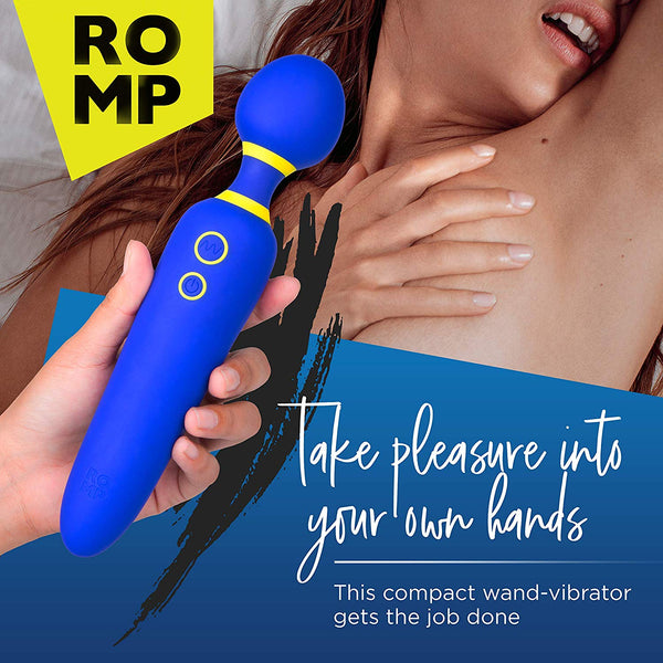 ROMP Flip - Personal Massage Wand Cordless Rechargeable & Waterproof Powerful Vibrating Massager with 6 Speed & 4 Mode Settings | Blue