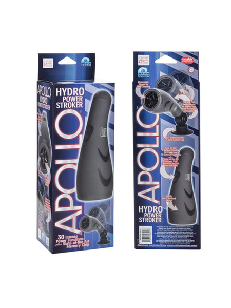 Apollo Hydro Power Stroker Grey - Vibrating Waterproof Masturbator With Suction Cup Swivel Mount