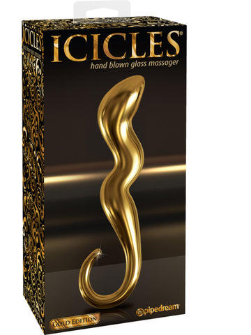 Icicles Gold Edition G01 - Hand Blown Glass Massager 7""