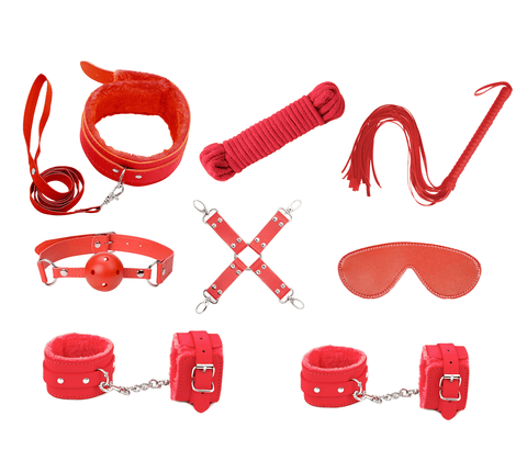 Love In Leather 9 Piece Bondage Kit KIT001 Red With Bonus Feather Tickler and Nipple Clamps