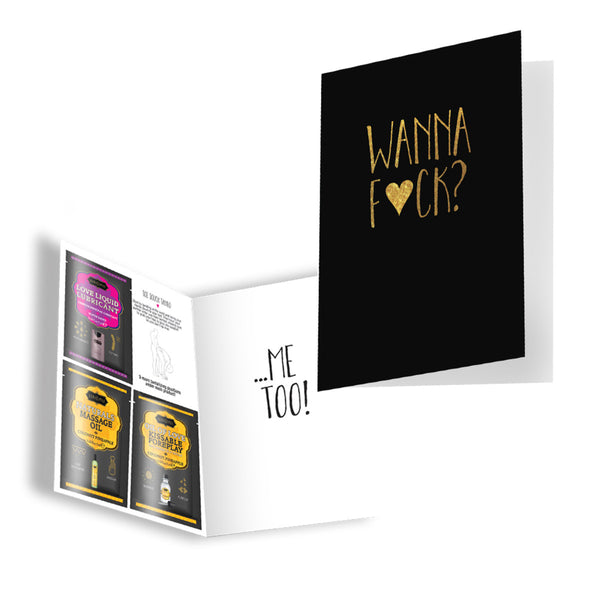 "Kama Sutra Naughty Notes Greeting Card ""Wanna F-ck Me Too"" Includes Kama Sutra Samples"