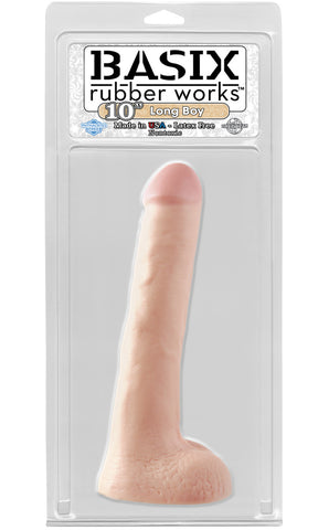Basix Long Boy 10 Inch Flesh Dildo by Pipedream