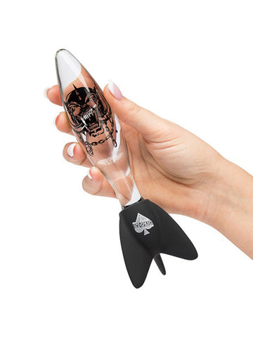 "Motörhead Bomber Clear & Black Rock Hard Glass Dildo 7"" (For Vaginal Use Only)"