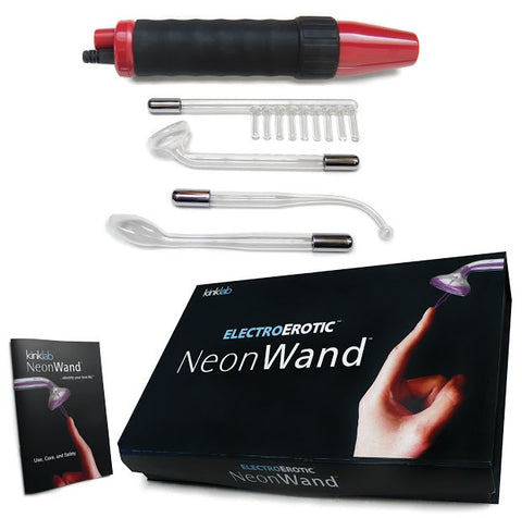 Electrosex Kinklab Neon Wand Red E-Stim Kit - 5 Piece Set - Electrical Stimulation Device