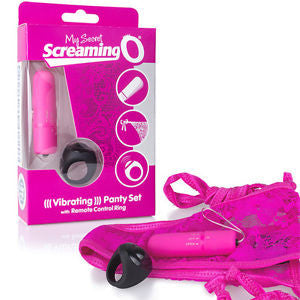 "My Screaming O Panty Vibe With Remote Control Ring Pink Tie Side Panty Fits Up To 60"" Waist"