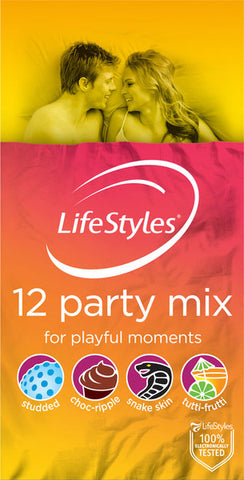 Ansell Lifestyles Party Mix 12 Pack Condoms
