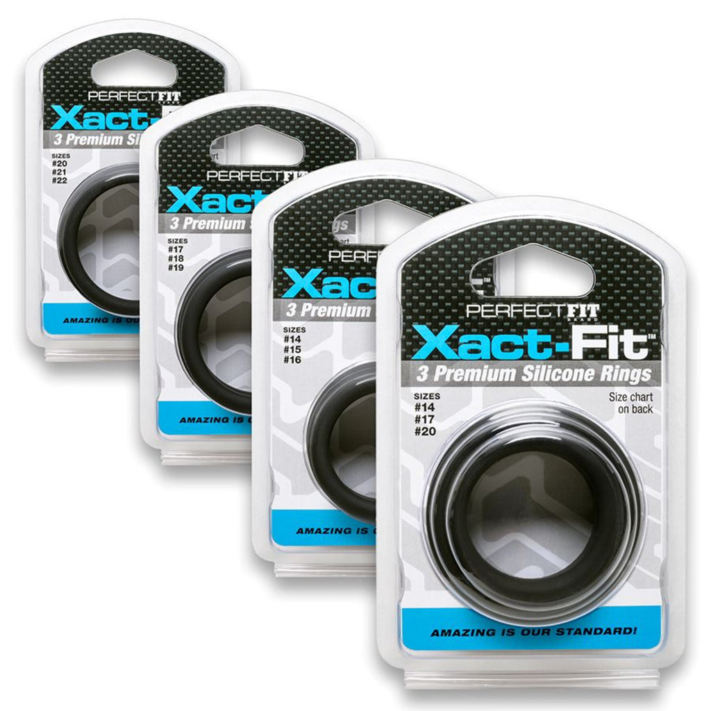 Perfect Fit Xact-Fit Silicone Cock Rings L/XL 3 Pack (No. 20/21/22) - Black