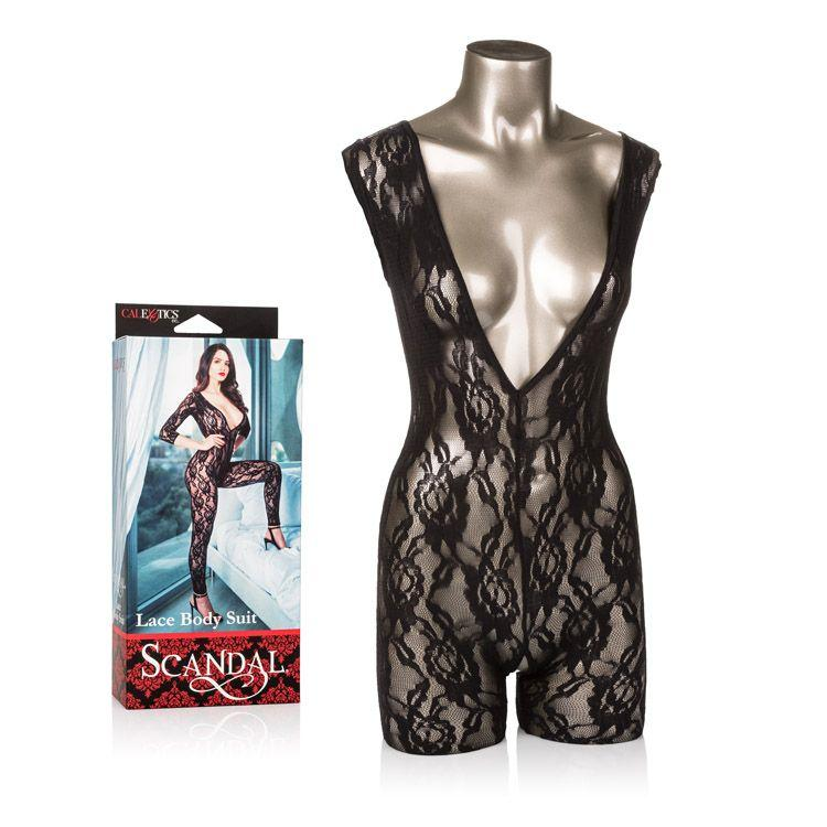 Scandal Lace Body Suit Black - One Size - Crotchless