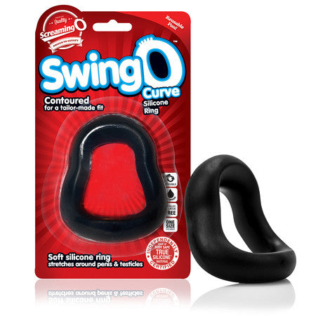 Screaming O SwingO Curved Silicone Penis Ring - Black