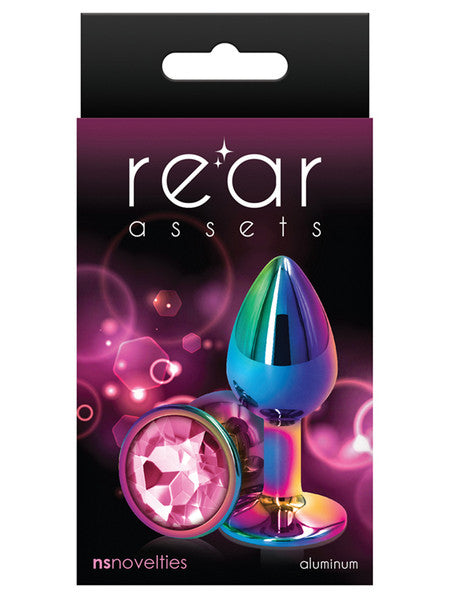 Rear Assets Multicolour Metal Butt Plug Circle Gem Pink Small