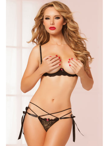 Seven Til Midnight 10506P String Along Bra Set - Black One Size Fits Most
