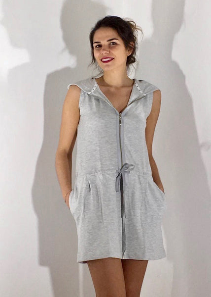 Pacific Cruise Cotton Sleeveless Hoodie Dress - Morning Mist