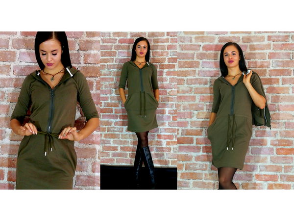 San Francisco Autumn 3/4 Sleeves Hooded Dress - Autumn Hay