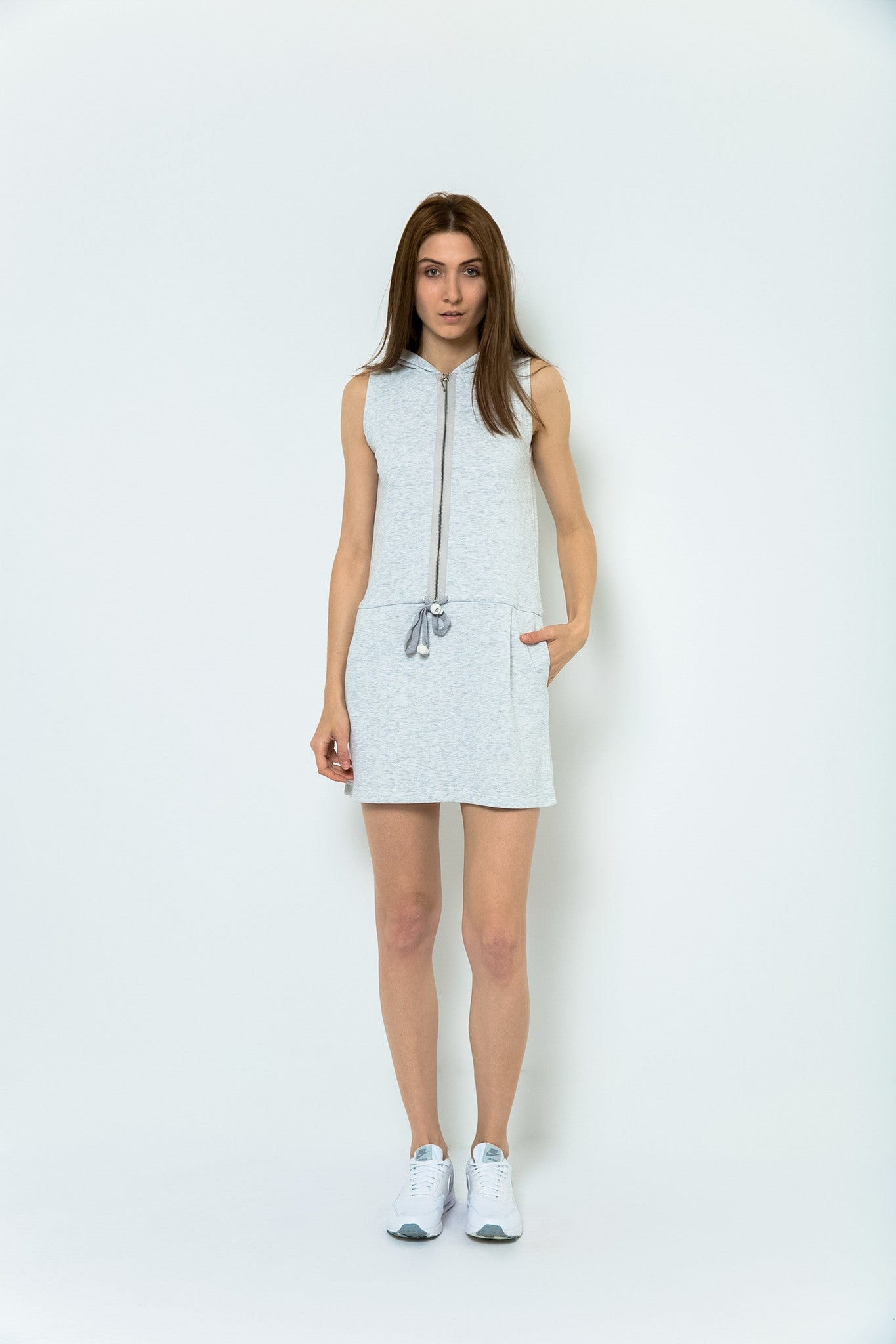 San Francisco Saturdays Sleeveless Hooded Dress - Morning Mist