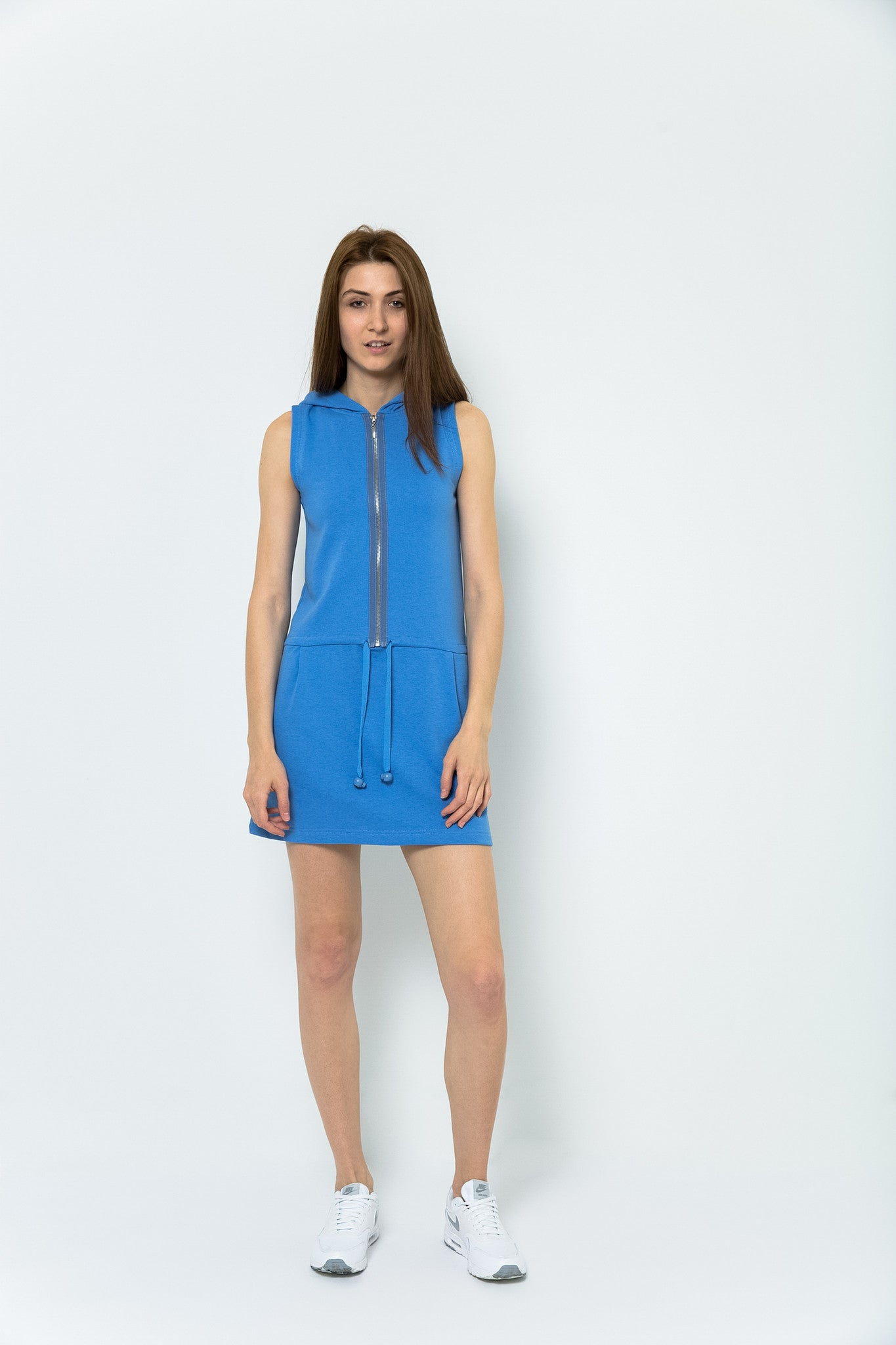 San Francisco Saturdays Sleeveless Hooded Dress - Amalfi Blue