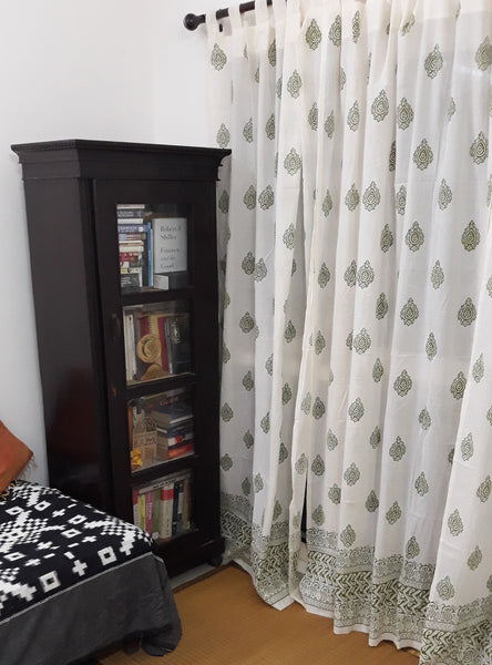 Block printed sheer cotton curtains with traditional Indian motifs