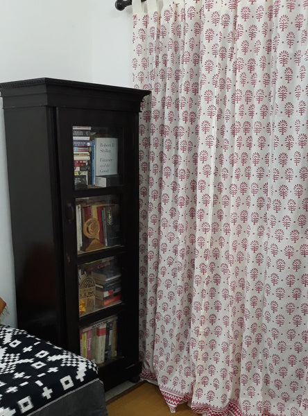 Block printed sheer cotton curtain