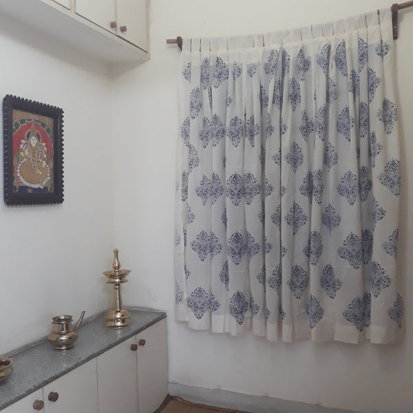 Sheer white decorative cotton curtains for the living room block printed with ethnic motifs