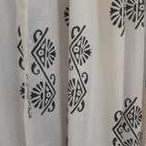 Ethnic block printed sheer cotton decorative window curtain for living rooms