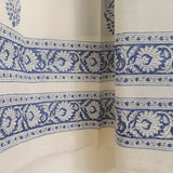 ethnic block prints on the border of a sheer white cotton window curtain for living rooms