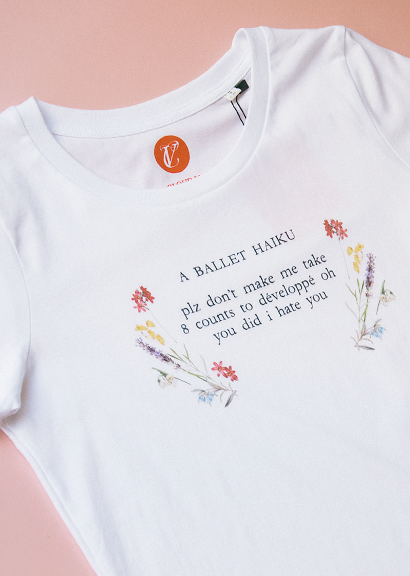 The Ballet Haiku II Tee - Ethical dancewear and ballet clothing by Cloud and Victory