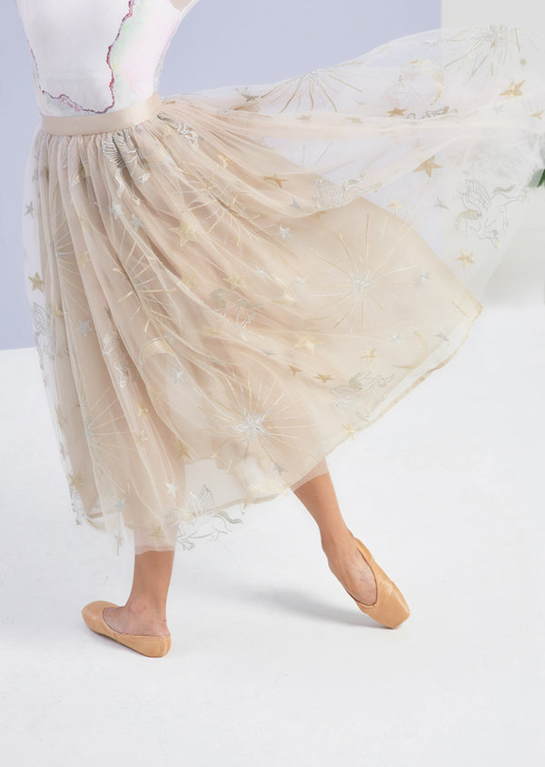 The Embroidered Tulle Skirt - Cosmos - Cloud & Victory
