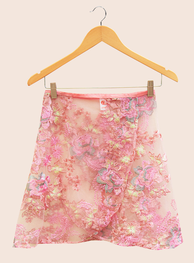 The Floral Magic Embroidered Tulle Wrap Skirt - Ethical dancewear and ballet clothing by Cloud and Victory