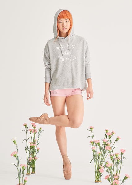 The Plie for Pizza Hooded Sweater - Cloud & Victory Ethical Ballet Clothing and Dancewear