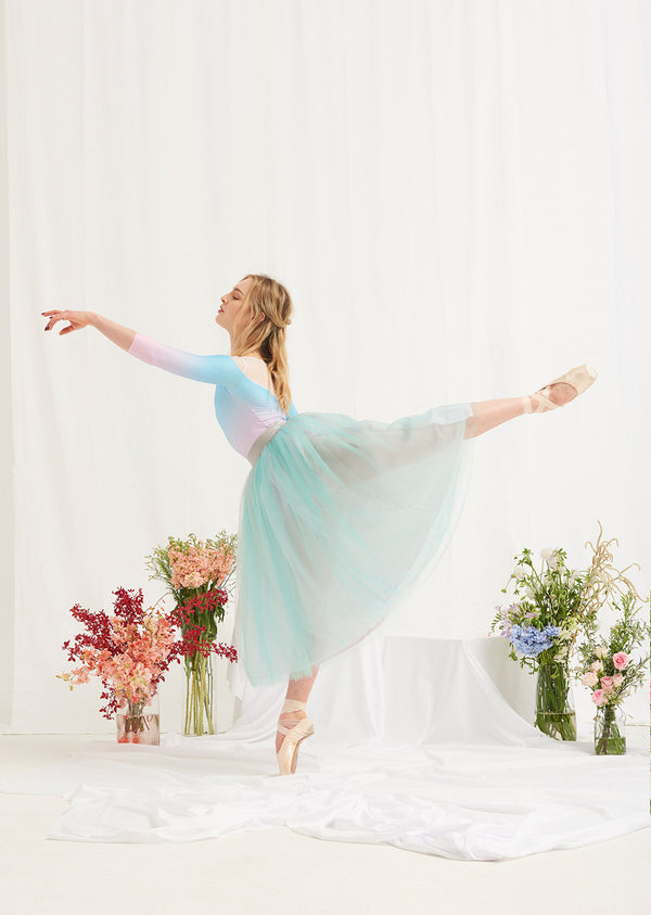 The Tulle Skirt - Seafoam/Dove Grey - Ethical dancewear and ballet clothing by Cloud and Victory