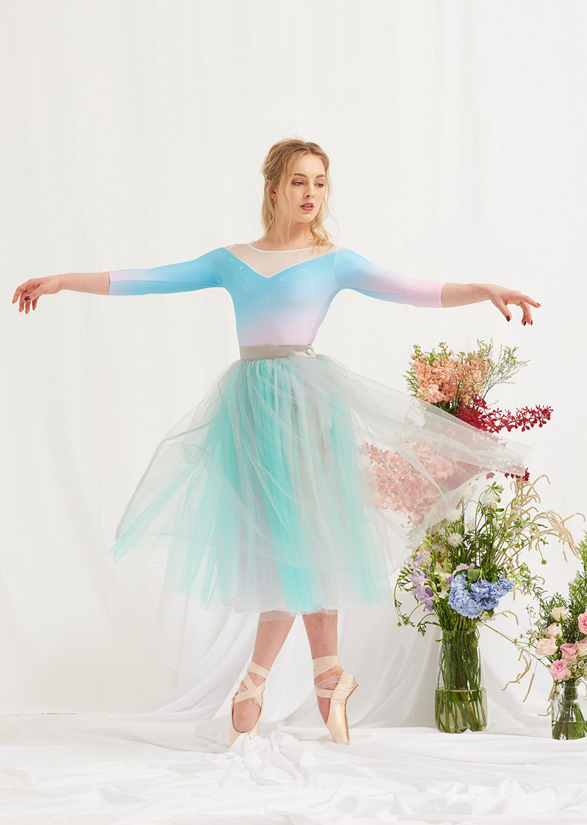 The Tulle Skirt - Seafoam/Dove Grey - Cloud & Victory Ethical Ballet Clothing and Dancewear