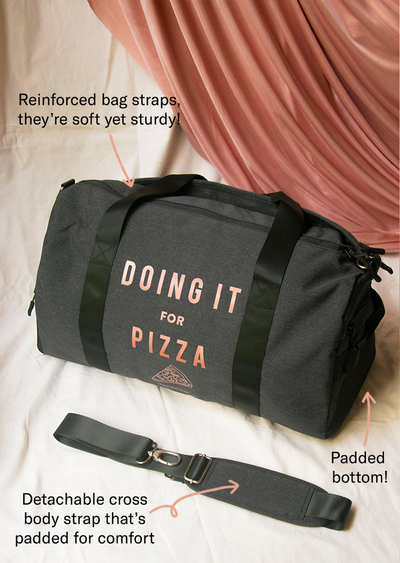 The Doing It For Pizza Dance Bag - Rose Gold Holiday Edition - Ethical dancewear and ballet clothing by Cloud and Victory