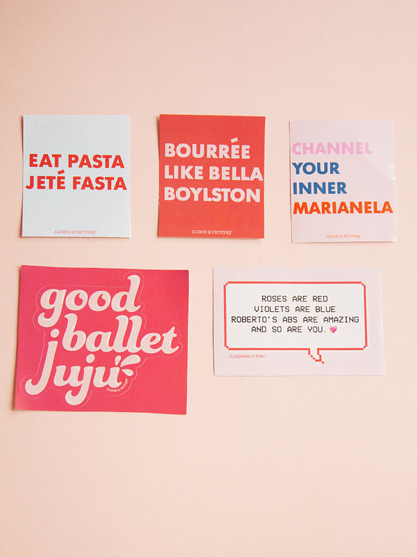 Ballet Sticker Set - Ethical dancewear and ballet clothing by Cloud and Victory