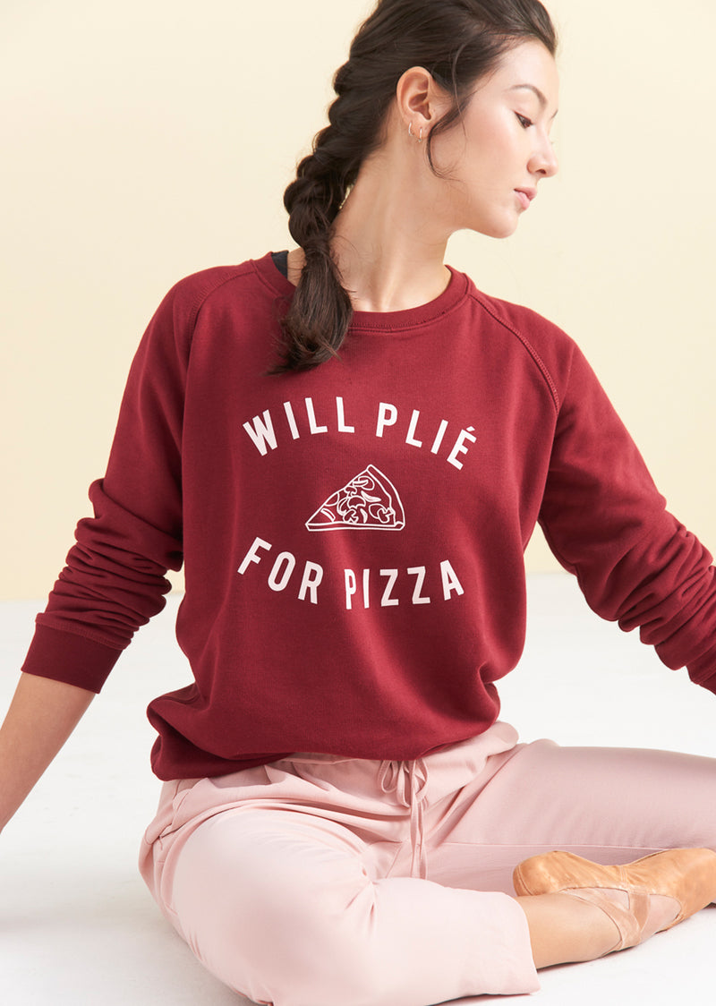 The Plie for Pizza Sweater - Ethical dancewear and ballet clothing by Cloud and Victory