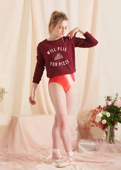 The Plie for Pizza Sweater - Seasonal Colours - Ethical dancewear and ballet clothing by Cloud and Victory