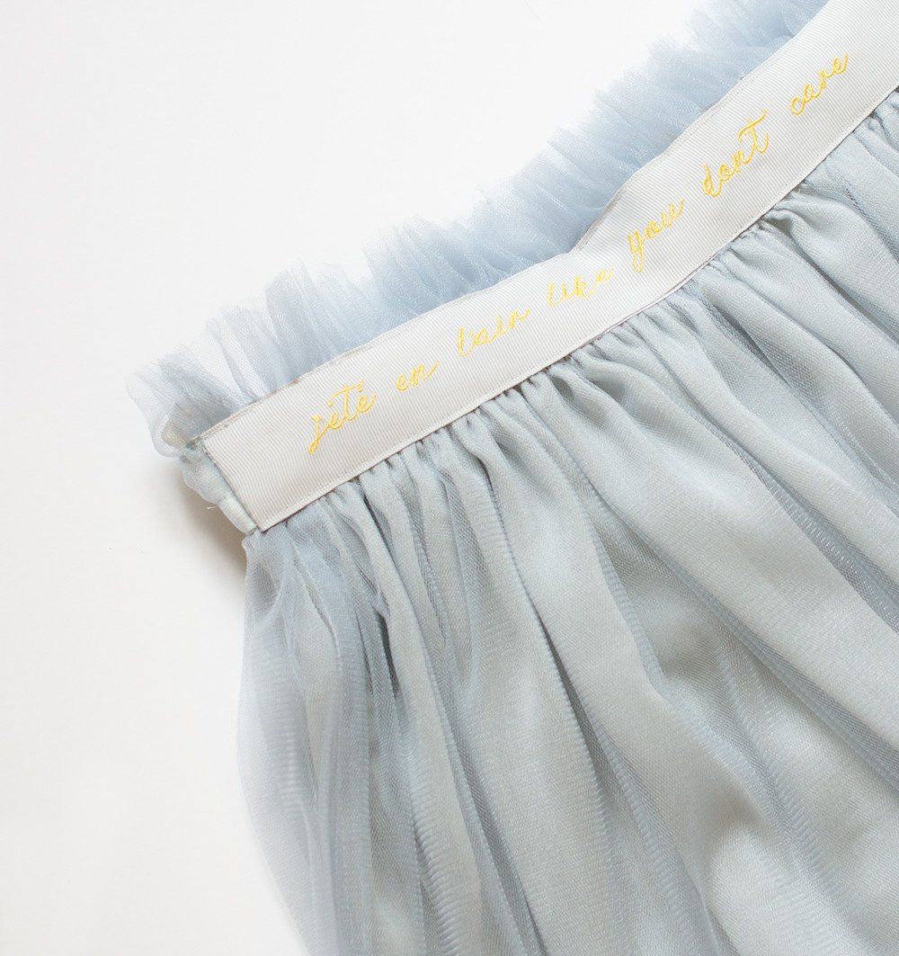 The Embroidered Waistband Tulle Skirt - Silver