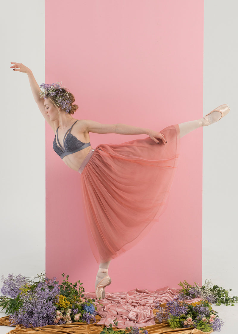 The Tulle Skirt - Rose/Camellia Pink - Ethical dancewear and ballet clothing by Cloud and Victory