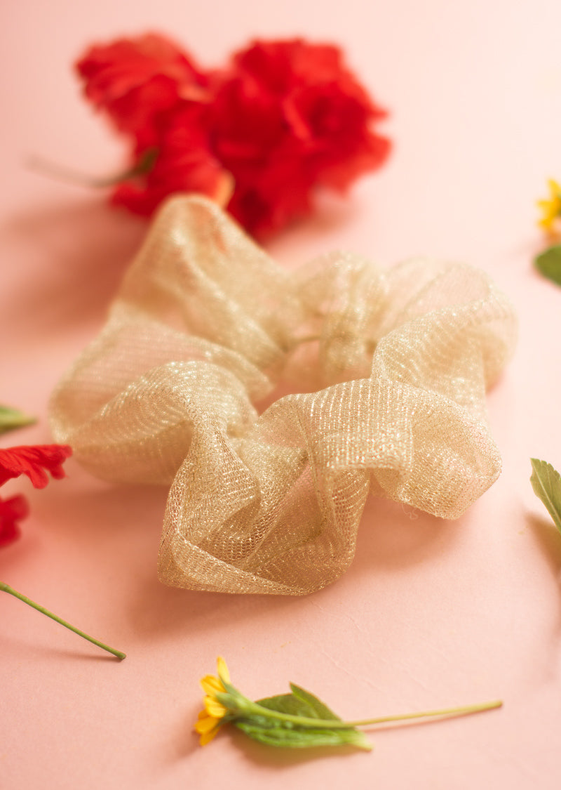 Gold Tulle Scrunchies - Ethical dancewear and ballet clothing by Cloud and Victory