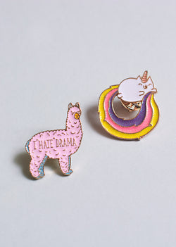 The No Drama For This Llama Pin Set - Ethical dancewear and ballet clothing by Cloud and Victory